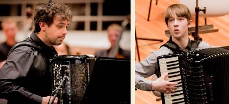 Die Akkordeon-Solisten Samuele Telari aus Italien und Ryan Corbett aus Schottland. Fotos: Christoph Soeder
