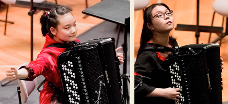 Die Akkordeon Solistinnen Zihan Yueu und Yuhan Mei aus China. Fotos: Foto: Christoph Soeder