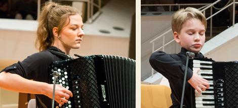 Die Akkordeon-Solisten Anna Betker aus Deutschland und Jonas Vozbutas aus Litauen. Fotos: E. Neubauer