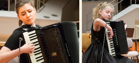 Die Akkordeon Solistinnen Sophie Herzog aus Deutschland und Austeja Nociute aus Litauen. Fotos: E. Neubauer