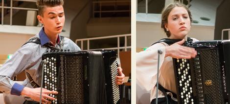 Akkordeon-Solisten Rafael Sapukov aus Russland und Sophie Fischer aus Deutschland. Fotos: E. Neubauer